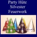 Party Hüte Silvester, Feuerwerk und Sternchen, 6 Stück