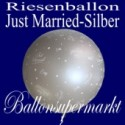 Riesenballon Hochzeit, Just Married, Hochzeitsballon in Silber