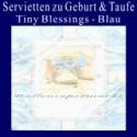 Servietten zu Geburt und Taufe, Blau