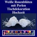 Tischdeko-Hochzeit, Weiße Rosenblüten mit Perlen