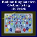 Ballonflugkarten Geburtstag, Luftballons zur Geburtstagsfeier steigen lassen, 100 Stück