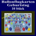 Ballonflugkarten Geburtstag, Luftballons zur Geburtstagsfeier steigen lassen, 10 Stück