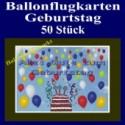 Ballonflugkarten Geburtstag, Luftballons zur Geburtstagsfeier steigen lassen, 50 Stück