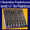 Buchstaben-Wunderkerzen, Auswahl A-Z, 5er Kombination mit Herz-Wunderkerzen