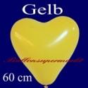 Riesen-Herzluftballon Gelb 1 Stück, 60 cm Ø, Heliumqualität