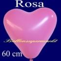 Riesen-Herzluftballons Rosa 10 Stück, 60 cm Ø, Heliumqualität