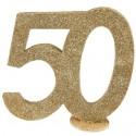 Tischaufsteller Zahl 50, Gold Glitzer Tischdekoration zu Goldener Hochzeit, 50. Geburtstag und Jubiläum