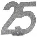 Tischaufsteller Zahl 25, Silber Glitzer, Tischdekoration zur Silberhochzeit, Geburtstag und Jubiläum