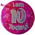 Holografischer Tischaufsteller, Ansteck-Button Zahl 10, Pink, Dekoration zum 10. Geburtstag, Mädchen