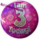 Holografischer Tischaufsteller, Ansteck-Button Zahl 3, Pink, Dekoration zum 3. Geburtstag, Mädchen