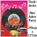 50er Jahre Party-Tischdecke, Partydekoration Mottoparty Fifties