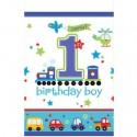 Tischdecke zum 1. Kindergeburtstag, Junge, All Aboard Birthday Boy
