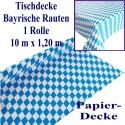 Tischdecke, 10 Meter, Blau-Weiß, Bayrische Rauten, Papierdecke, 1 Rolle
