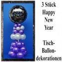 Silvesterparty Tischdekoration, 3 Stück Ballondekorationen Happy New Year