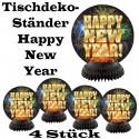 Silvester Dekoration, Tischdeko-Ständer, Happy New Year, Feuerwerk, 4 Stück