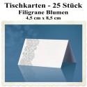 Tischkarten, filigrane Blumen, 4,5 cm x 8,5 cm, 25 Stück