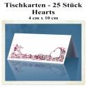 Tischkarten, Hearts, 4 cm x 10 cm, 25 Stück