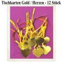 Tischkarten - Gold, Herzen mit Satinband, 12 Stück