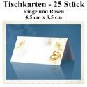 Tischkarten Hochzeit, Ringe und Rosen, 4,5 cm x 8,5 cm, 25 Stück