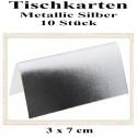 Tischkarten - Metallic-Silber, 10 Stück