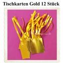 Tischkarten - Gold, rechteckig mit Satinband, 12 Stück