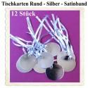 Tischkarten - Silber, rund mit Satinband, 12 Stück