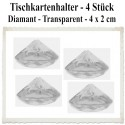 Tischkartenhalter, Diamant - Transparent, 4 Stück