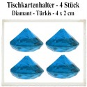 Tischkartenhalter, Diamant - Türkis, 4 Stück