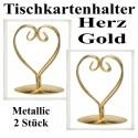 Tischkartenhalter, Herz - Gold, 2 Stück
