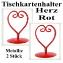 Tischkartenhalter, Herz - Rot, 2 Stück