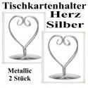 Tischkartenhalter, Herz - Silber, 2 Stück