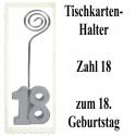 Tischkartenhalter Zahl 18 Silber, zum 18. Geburtstag, 2 Stück