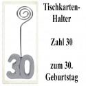 Tischkartenhalter Zahl 30 Silber, zum 30. Geburtstag, 2 Stück