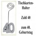 Tischkartenhalter Zahl 40 Silber, zum 40. Geburtstag, 2 Stück