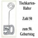 Tischkartenhalter Zahl 50 Silber, zum 50. Geburtstag, 2 Stück