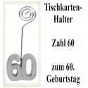 Tischkartenhalter Zahl 60 Silber, zum 60. Geburtstag, 2 Stück