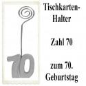 Tischkartenhalter Zahl 70 Silber, zum 70. Geburtstag, 2 Stück