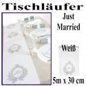 Deko-Tischläufer, Tischdecke Just Married, Weiß