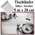 Deko-Tischläufer, Tischdecke Silber mit Streifen