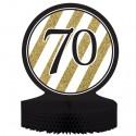 Tischständer Black and Gold 70, Honigwaben-Tischdekoration zum 70. Geburtstag