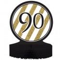Tischständer Black and Gold 90, Honigwaben-Tischdekoration zum 90. Geburtstag