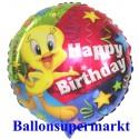 Luftballon Tweety Happy Birthday, Folienballon zum Kindergeburtstag mit Helium