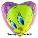Luftballon Tweety Portrait, Folienballon mit Ballongas