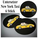 Deko-Tischuntersetzer, Tischdeko New York Taxi, 6 Stück