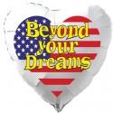 Beyond your Dreams Luftballon USA Flagge, Folienballon Herz, 45 cm, ohne Ballongas