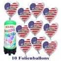 Luftballons Super-Mini-Helium-Set, 10 USA-Ballons, Welcome Home, aus Folie mit 1 Liter Helium-Einweg