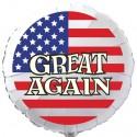 GREAT AGAIN Luftballon USA Flagge, Folienballon Rund, 45 cm, ohne Ballongas