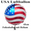 Luftballon USA Flagge, Folienballon Rund, 45 cm, mit Ballongas