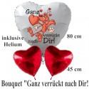 "Valentinstag Ballon-Bouquet ""Ganz verrückt nach Dir! Ich liebe Dich!"