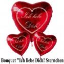 Bouquet, Helium-Luftballons, Ich liebe Dich! Sternchenherz